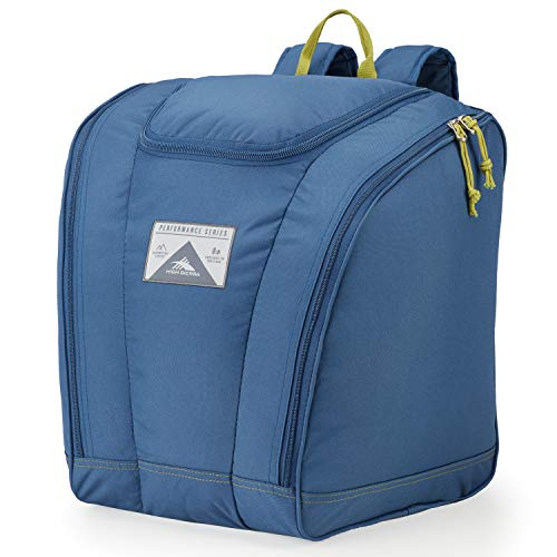 High Sierra Trapezoid Ski Boot Bag Backpack with Compression Straps and Zippered Compartments for Ski and Travel Gear (Rustic Blue/Avocado)