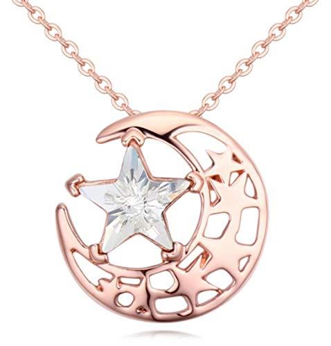 Quadiva E! - Collana da donna con feltro di luna e stella in RG (colore: oro rosa/cristallo bianco) decorata con cristalli di Swarowski®
