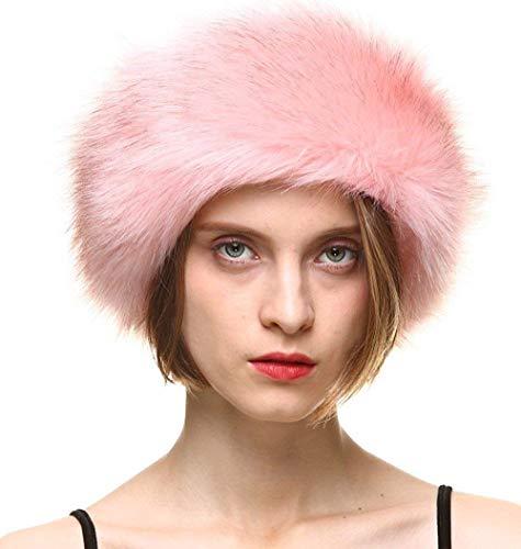 FHQHTH Faux Fur Headband with Elastic for Women Fuzzy Winter Earwarmer Ski Cold Earmuff [Pink]