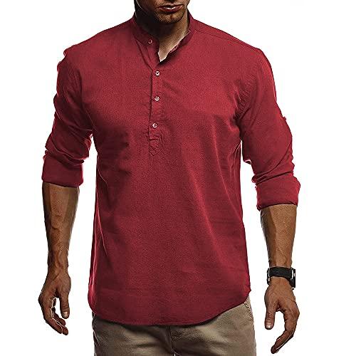 Shirt Hombre Transpirable Slim Fit Tapeta con Botones Hombre Shirt Ocio Básica Color Sólido Cuello Alto Hombre Camisa Henley Manga Larga Hombre Camisa Funcional E-Wine Red XL