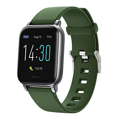 Smart Watch S50, Rastreador de Fitness, presión Arterial, Monitor de frecuencia cardíaca, IP68 A Prueba de Agua SmartWatch Fitness Watch Reloj Inteligente para Hombres Mujeres-Ejercito Verde