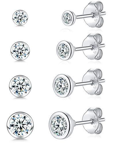 Piccoli orecchini a perno per donne, uomini e ragazze, 4 paia di piccoli orecchini rotondi in argento Sterling con zirconia cubica (2/3/4/5 mm) e Argento, colore: Argento, cod. 023-a