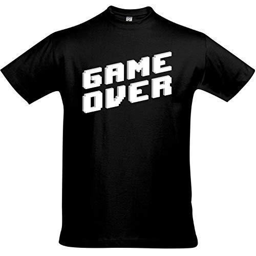 T-Shirt Game Over, Zocken, Zocker, Gaming, Spielen, Konsole, PS, Tshirt für Gamer (gameover, L)