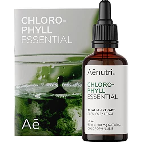 Chlorophyll Tropfen Essential flüssig | 200 mg liquid Chlorophyll aus Alfalfa je Tagesdosis | Reine Formel mit Osmose-Wasser | 50 ml = 1500 Tropfen