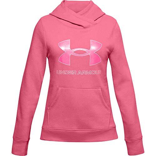 Under Armour Mädchen Aufwärmoberteil Rival Fleece Hoodie mit Logo, Pink Lemonade/ White/ Cerise (668), L, 1356431-668