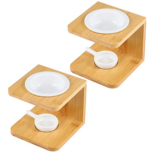 VICASKY 2 Conjuntos de Queimador de Óleo de Cerâmica Com Suporte de Madeira Queimador de Derretimento de Cera Suporte para Óleos Essenciais Luz de Chá Aquecedor de Velas para Decoração de
