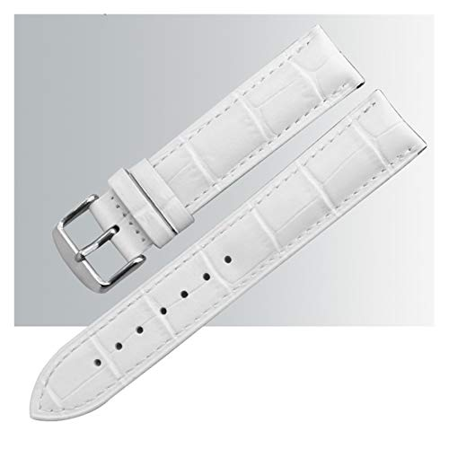 MGHN uhrenarmband Leder Leder-Uhr-Band-Bands polierter Schnalle-Uhr-Band-Armband Schnellspanner Ersatz-Armbänder gepolstert (Color : White Silver Buckle, Size : 23mm)