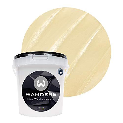 Wanders24® Metall-Optik (1 Liter, Champagner) Wandfarbe Metallic - zum Spachteln im Metallic Look - in 17 edlen Farbtönen erhältlich - Made in Germany