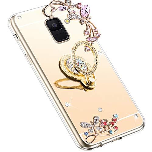 Uposao Kompatibel mit Samsung Galaxy A8 2018 Hülle Glitzer Spiegel TPU Schutzhülle Bling Strass Diamant Silikon Hülle Glänzend Kristall Blumen Silikon Handyhülle mit Ring Ständer Halter,Gold