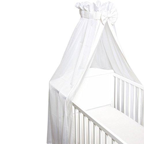Babybett Schleier/Betthimmel (Mit Schleife) Für Babybetten 60 x 120 cm / 70 x 140 cm (WEIß)