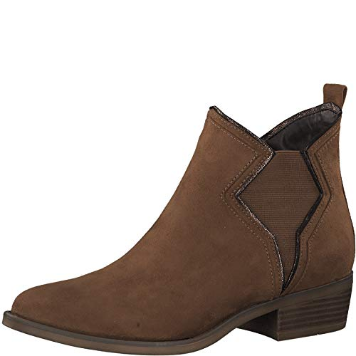s.Oliver Damen Stiefeletten 25336-23, Frauen Chelsea Boots, Freizeit leger Stiefel halbstiefel Bootie Schlupfstiefel flach,DK Cognac,40 EU / 6.5 UK