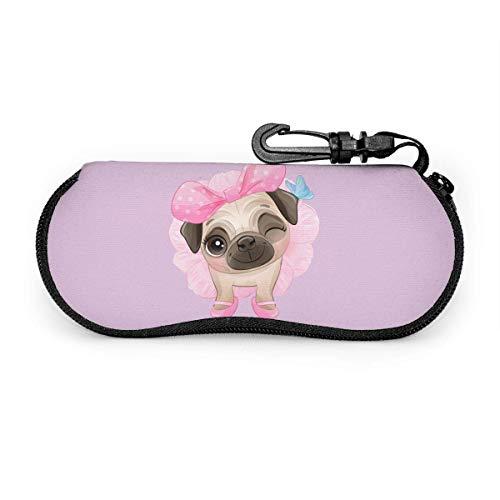 Arvolas Lindo bebé Pug perros usan pajarita y bailarina rosa funda de anteojos portátil resistente a la abrasión funda protectora para gafas