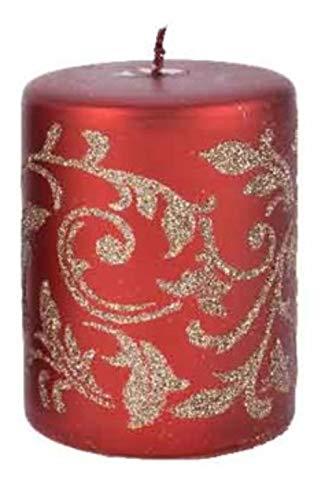 KAE - Candela a Colonna a Forma di Foglia con Glitter, Colore Rosso e Oro, Durata 40 Ore, 14 cm Grande Foglia.