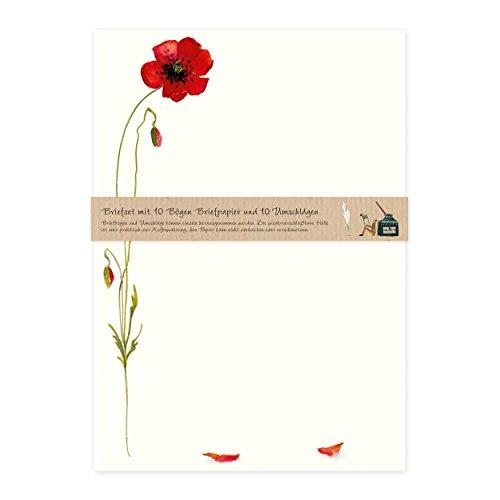 Briefpapier Set edel mit Umschlägen, 10 Seiten DIN A4 mit Blumen, Natur, rot, Nostalgie, Retro, cremefarben, Mohnblüte