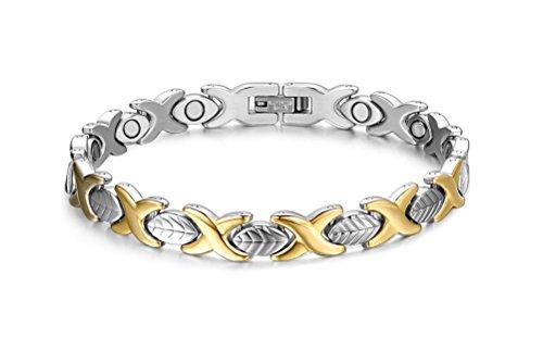 Vnox 7mm Edelstahl Blatt Form Link Wristband 4 in 1 Magnetische Therapie Armband für Männer Frauen,Silber Gold,21.6cm