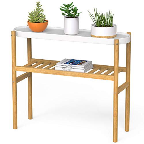 Bamboo Plant Shelf Indoor, 2 Tier Tall Plant Stand Table for Multiple Plants,...