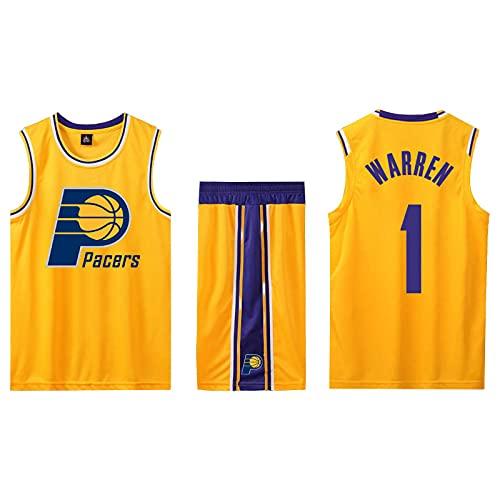 EFXCHSY Conjunto de 2 piezas de camiseta sin mangas de entrenamiento de baloncesto y pantalones cortos Traje de camiseta Pantalones cortos deportivos Indiana Pacers Jerseys + Pantalones Niño