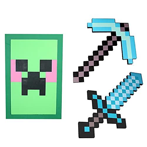 JYMEI Schwert Kinder Schaumstoff,Diamantschwert,Schaum Sword,Diamant-Pixel-Axt,Diamant-Pixel-Schwert,MC-Schild,Diamant-Pixel-Pistole,Waffen-Requisiten,Persönliches Geschenk (4 Kombinationen)