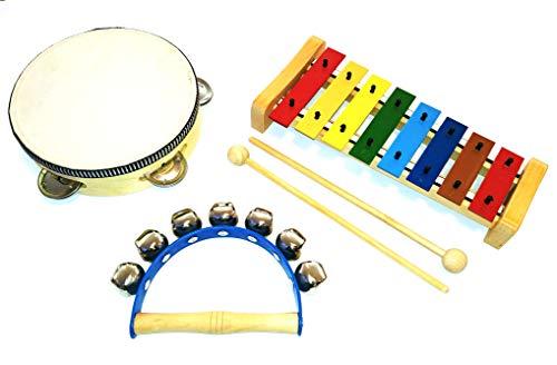 Kleines Kinder-Percussion-Set, Kinder Instrumente aus Holz, 3-teilg bestehend aus Glockenspiel mit 2 Holzschlägeln, Tambourin und Schellenkranz für die musikalische Früherziehung/Orff-Instrumente