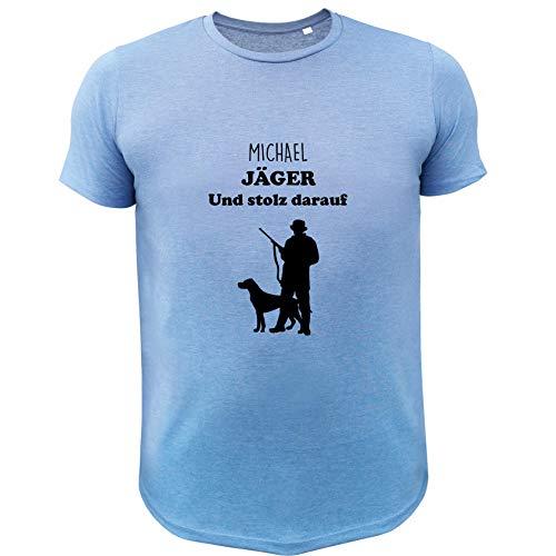 Jagd T Shirt, Jäger und stolz darauf (mit Anpassung), Lustiges Geschenk für Jäger (20150, blau, M)