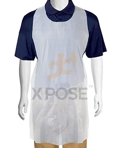 100 White Plastic Disposable Aprons For Cooking, Painting and More - Individually Packaged - Durable 1 mil Waterproof Polyethylene - 24 x 48 - by Xpose Safety