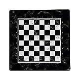Immersion - Alfombra de ajedrez de mármol negro, 40 x 40 cm – Alta calidad de deslizamiento – Antideslizante