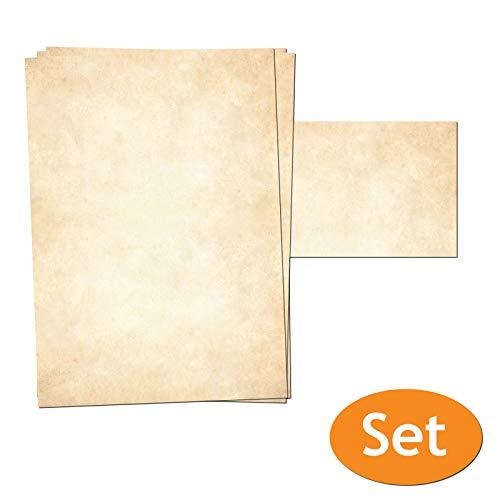 Presentou Briefpapier beidseitig Bedruckt 120 Gramm Papier | Motivpapier Urkundenpapier Urkunde Speisekarte Liebesbrief (Vintage Hell, 25 + 25 Bögen + Umschläge)
