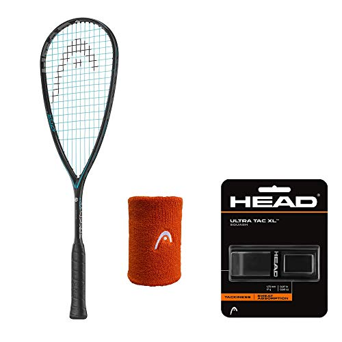 HEAD Squash Racket Graphene Touch Speed 120 SB with Wrist Band 5 INCH Assorted and Ultra TEC XL Black Squash Grip