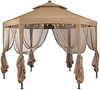 Garden Winds Replacement Canopy Top Cover for The Hexagon Solar Gazebo (Model GFS00679B),Side Netting Set Not Included