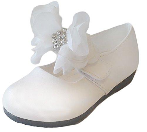 familientrends Ballerina Festliche Kinderschuhe Mädchen Halbschuhe Klettverschluss Gr.21-25 108, Grössen Schuhe:23;Farbe:Weiss