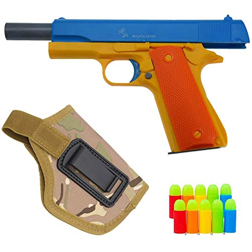 Teanfa Foam Play Toy Gun-Realistic 1:1 Scale Colt 1911 Rubber Bullet Pistol with CP Camouflage Tactical Holster, Blue