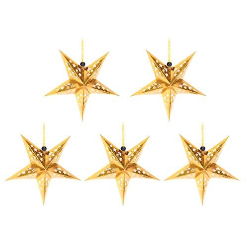 SOLUSTRE 5 Stücke Papierstern Lampenschirm Golden Papier Faltsterne 45cm Hängende Weihnachtsanhänger Hochzeit Geburtstag Weihnachten Festival Lampenschirm Weihnachtsdekoration