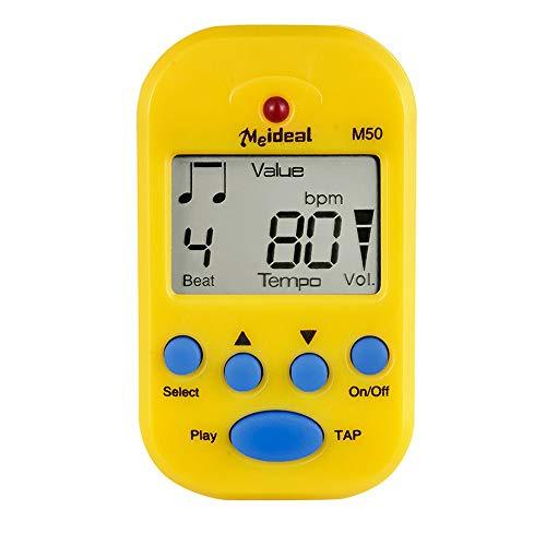 Cerobit - Metrónomo profesional M50 digital LCD sintonizador de clip Metronomo para guitarra, piano, mini metrónomo instrumento musical, color amarillo