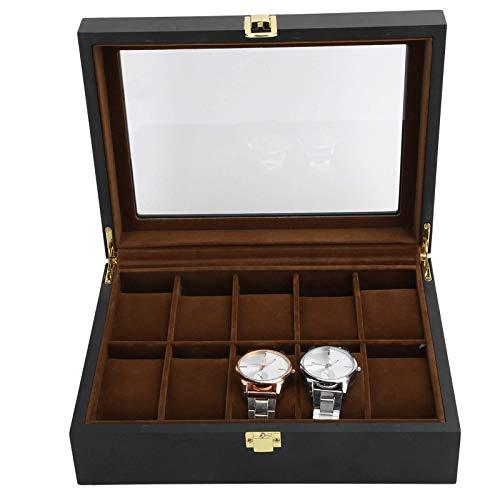 XHLLX Reloj Organizador, Caja De Joyería para Hombre Top De Vidrio, 10 Gridos Exquisitos Sin Óxido Pantalla Práctica Pantalla para Almacenaje Hombres Mujeres