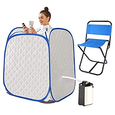 casulo Oversized Portable Sauna with Chair, Indoor Personal Steam Saunas Bath Detox Relaxation for Home Spa, 800W, 90 Minute Timer, with Remote Control, Foldable Chair