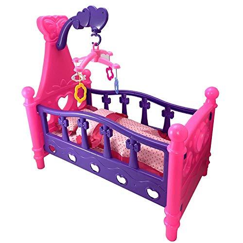 TikTakToo Großes Puppenbett mit Kissen + Decke Karussell 3in1 Kinder Puppenwiege Bettwäsche ohne Puppe Puppenmöbel Puppenzubehör