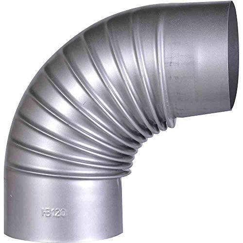 FIREFIX A120/B FAL Bogen 90°, starr, ø 120 mm - Ofenrohre aus Stahlblech, 0,6 mm stark, innenliegend gemufft, Längen lasergeschweißt, Silber