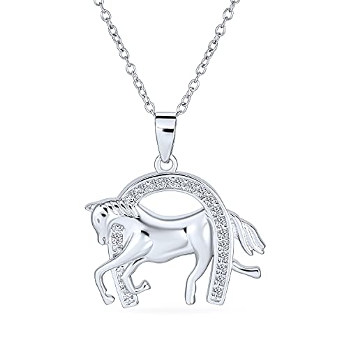 Bling Jewelry Ouvrir Zircone Cubique Vache Bonne Chance Équestres Cheval Pur-Sang pour Femme Argent Sterling 925