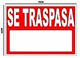 Oedim Cartel Se Traspasa 50x70cm | Carteleria para Inmobiliarias o Particulares | Material Flexible Fabricado en Glasspack