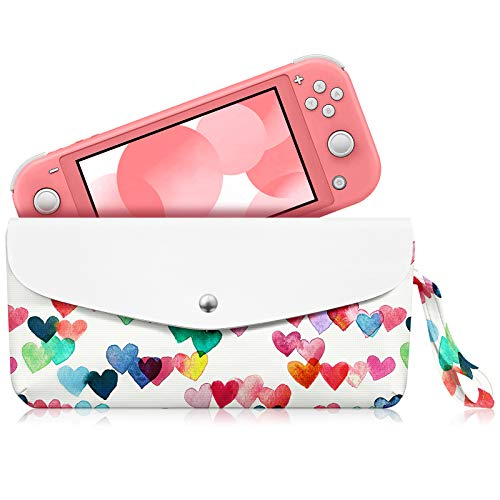 Fintie Carry Case for Nintendo Switch Lite 2019 - Portable Travel Bag Protective Sleeve Pouch w/Side Pocket, Game Card Slots, Holding Strap for Nintendo Switch Lite and Accessories, Raining Hearts