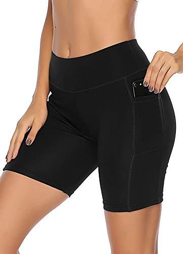 INSTINNCT Damen Sport Kurze Hose mit Taschen Trainingshose Sporthose Jogginghose Fitness Shorts A-Schwarz M