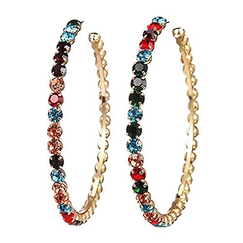 XAOQW Grandes Pendientes de Damas Lindo Coloridos Pendientes Colgantes de Cristal de Boda joyería de moda-W03219 Estilo 3