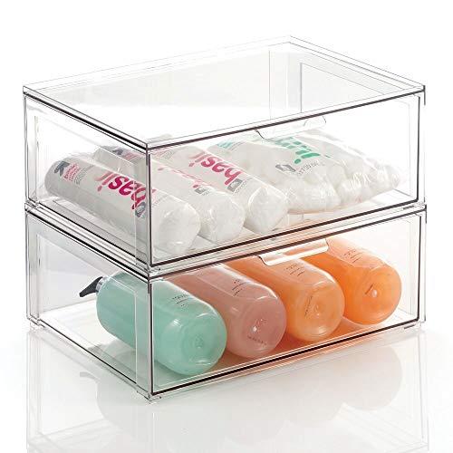 mDesign Caja de almacenaje grande con cajón – Estable cajón de plástico para guardar maquillaje – Organizador apilable para cosméticos, accesorios y más – Juego de 2 – transparente
