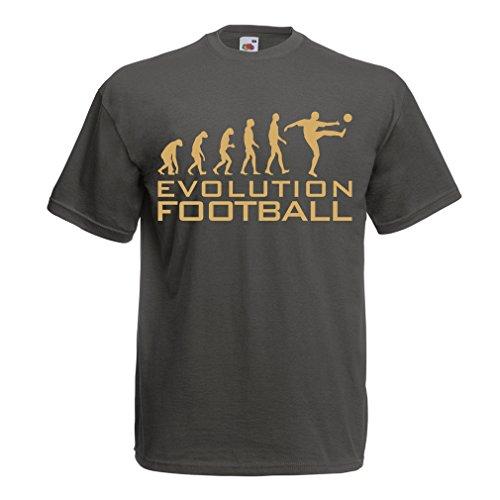 lepni.me Camisetas Hombre La evolución del fútbol - Camiseta de fanático del Equipo de fútbol de la Copa Mundial (Medium Grafito Oro)