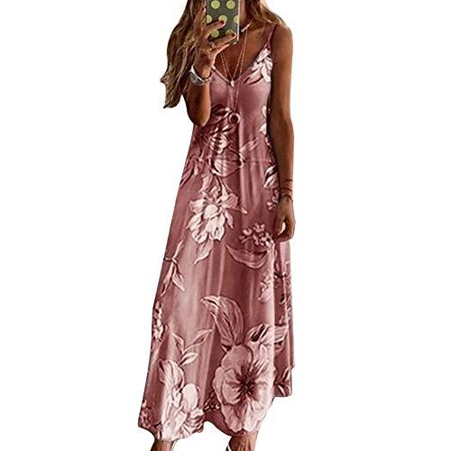 Fanville Damesjurk met lange boho, voor op het strand, zonder mouwen, V-hals 5XL roze