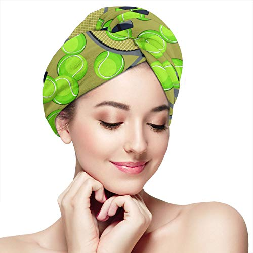 Palline da tennis e modello di racchetta Asciugamani Asciugacapelli Turbante per capelli bagnati, Asciugamano assorbente per asciugamani