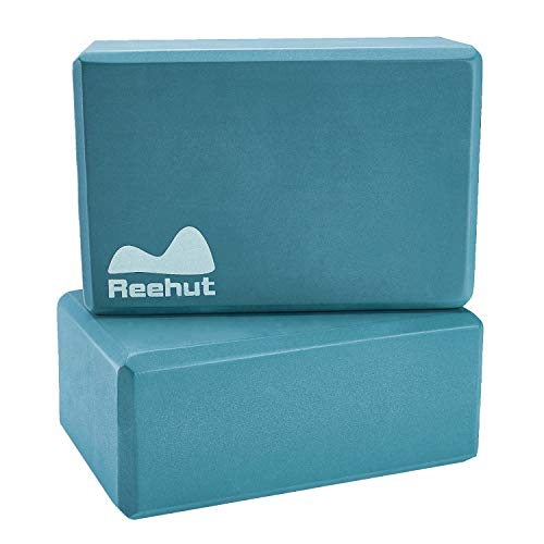 "REEHUT (1-PC Yoga Block, 9""x6""x4"" - High Density EVA Foam Block to Support and Deepen Poses, Improve Strength and Aid Balance and Flexibility - Lightweight, Odor Resistant(Turquoise)"