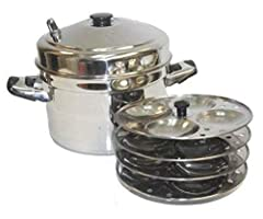 Stainless Steel Cooker and Rack Sturdy handles to prevent breaking 4 Idlis made per plate/rack; 4 Racks in this package Product has been made in India Firmly made and equipped for ease in use