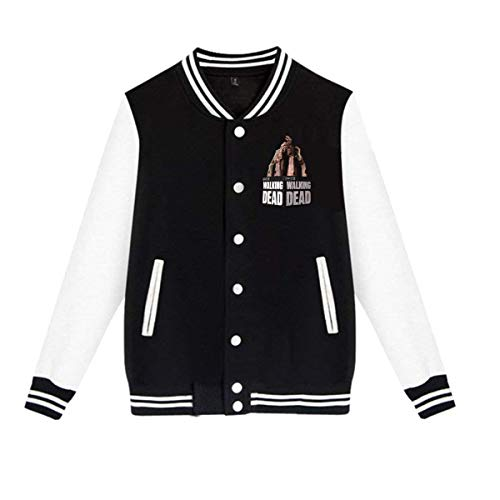 Kemeicle Men's Womens Baseball Jacket The Walking Dead Casual Long Sleeve Varsity Jackets Small Black