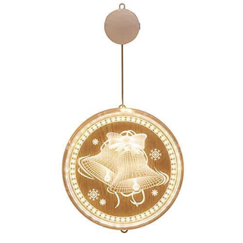 N/AA Navidad creativo decoración luces colgantes árbol de Navidad feliz Navidad campana con lechón luces LED (campana de Navidad, talla única)
